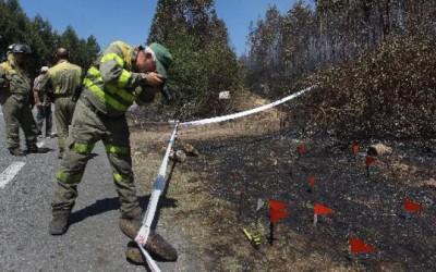 Axentes Facultativos Medioambientais investigando un incendio forestal no concello de Cotobade na provincia de Pontevedra pertencente ao Distrito Forestal XIX encontran artefacto incendiario.
