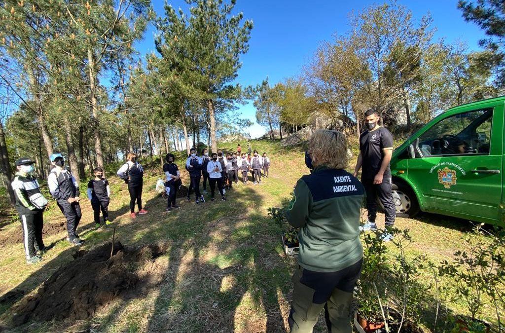 Axentes forestais da Consellería de Medio Rural colaborar Ococlub de taekwondo de Lúa Piñeiro na plantación de 100 árbores na zona de Pataca Cortada